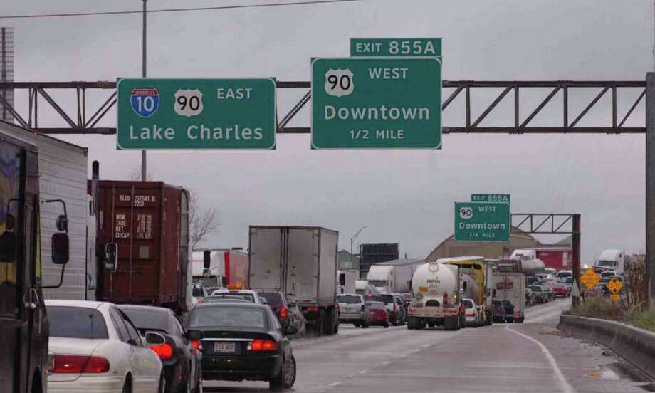 Traffic going both directions on Interstate 10 in Beaumont was at a stand still Friday morning due to icy conditions on the bridges and overpasses. Pete Churton/The Enterprise Photo: Pete Churton