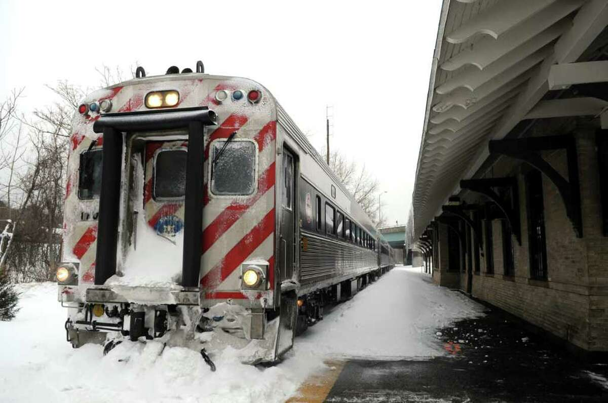 Metro-North's Waterbury, Conn. train line rolls into Derby, Conn. Tuesday, Feb. 1, 2011 despite icy weather conditions.