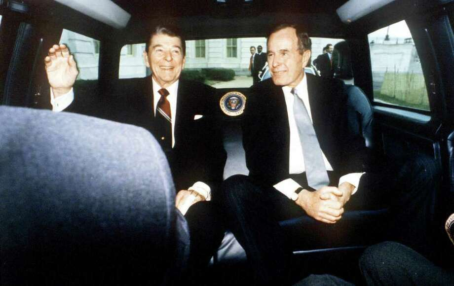 F354390 074: President Ronald Reagan And Vice President George Bush On Reagan's Last Day As President, Washington, Dc, January 20, 1989.  (Photo By The White House/Getty Images) Photo: The White House, Getty Images / Getty Images