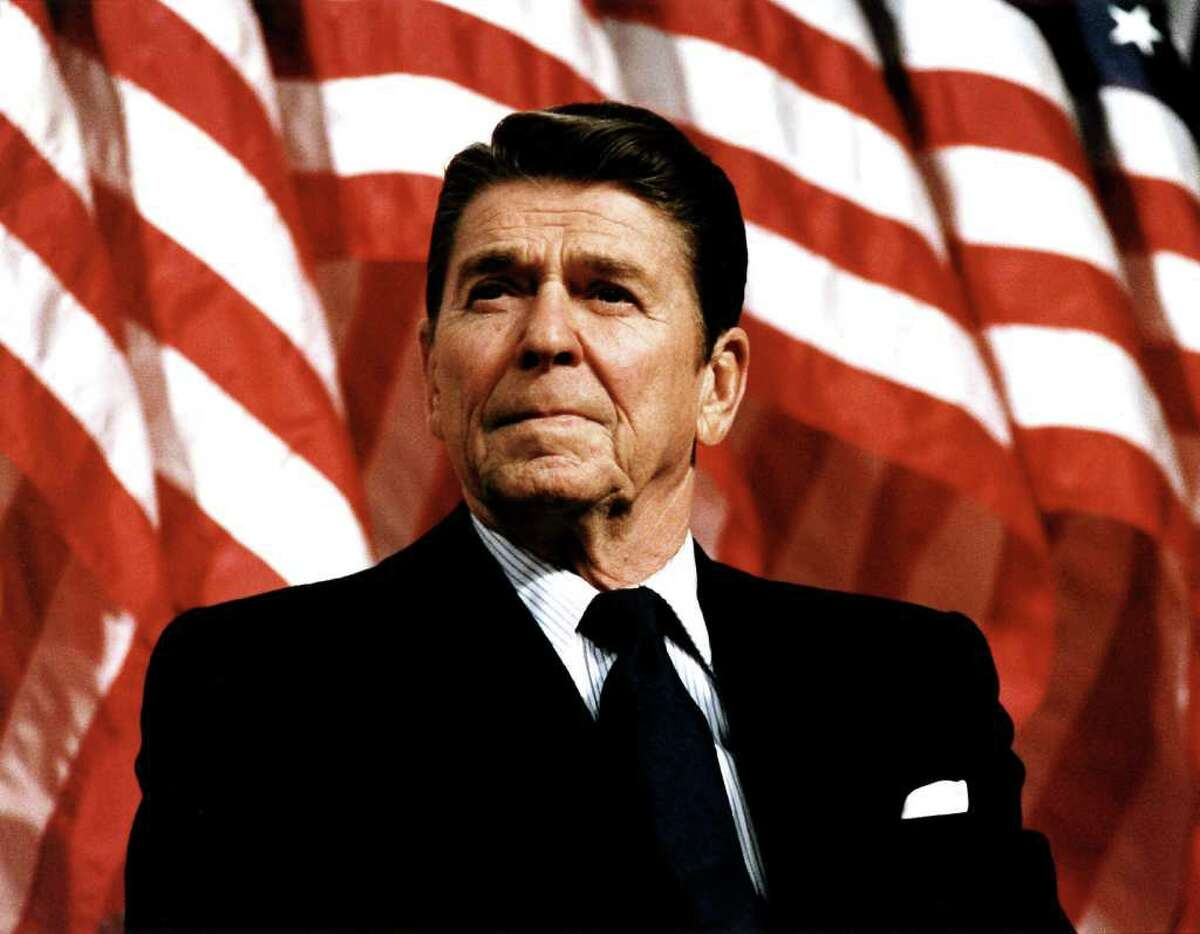 UNDATED: (FILE PHOTO) Former U.S. President Ronald Reagan speaks at a rally for Senator Durenberger February 8, 1982. Reagan turns 92 on February 6, 2003. (Photo by Michael Evans/The White House/Getty Images)
