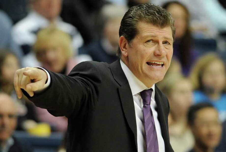 Connecticut head coach Geno Auriemma reacts during the first half of an NCAA college basketball game against DePaul, in Storrs, Conn., Saturday, Feb. 5, 2011. (AP Photo/Jessica Hill) Photo: AP