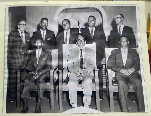 This photograph, on display at the Mount Olive Missionary Baptist Church, shows Photographer Alonzo Jordan, left, posed with other church members.     Dave Ryan/The Enterprise Photo: Dave Ryan / Beaumont