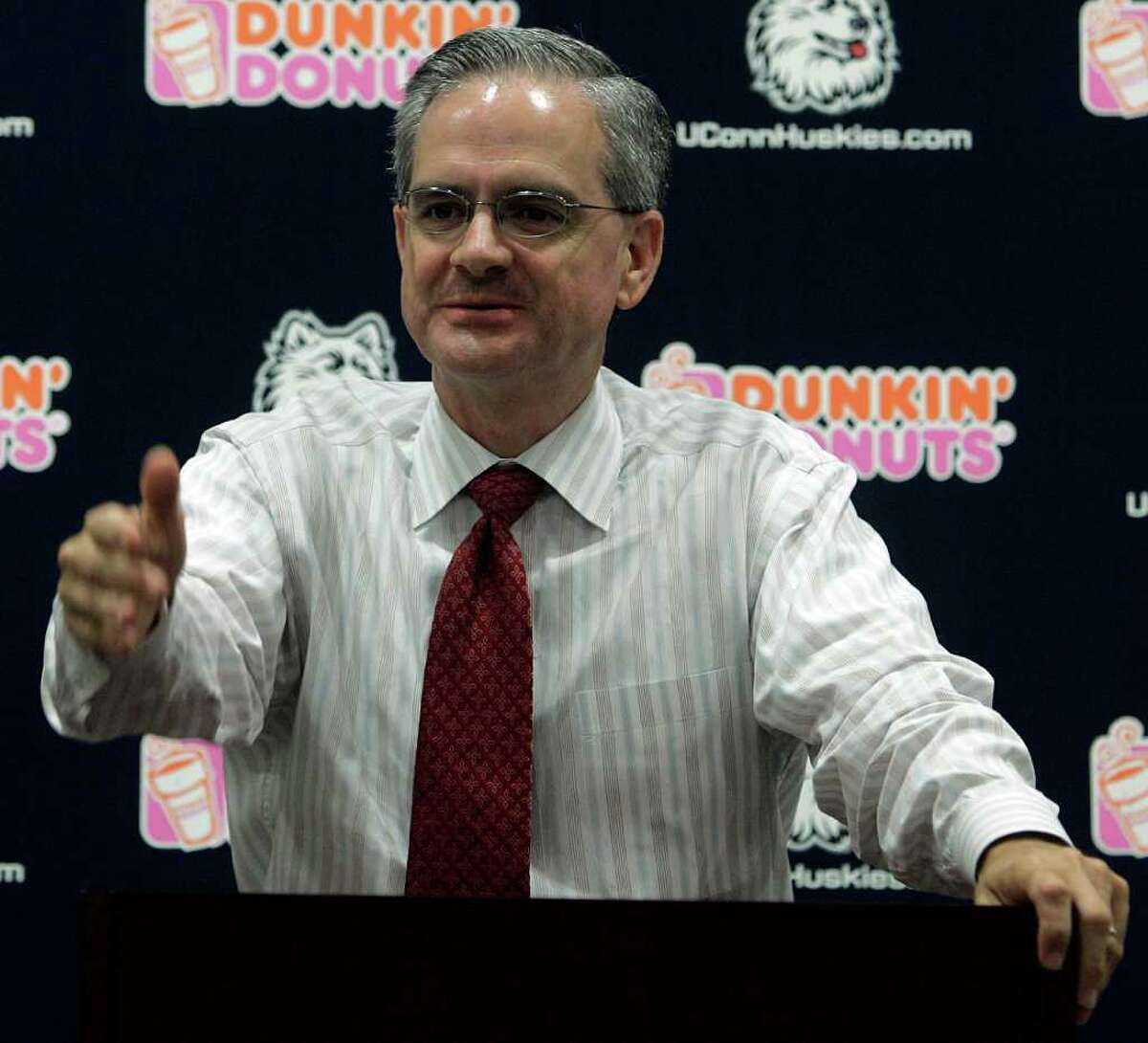 University of Connecticut Director of Athletics Jeff Hathaway answers a question during a news conference on the UConn campus at Storrs, Conn., Tuesday, Sept. 11, 2007. (AP Photo/Bob Child)
