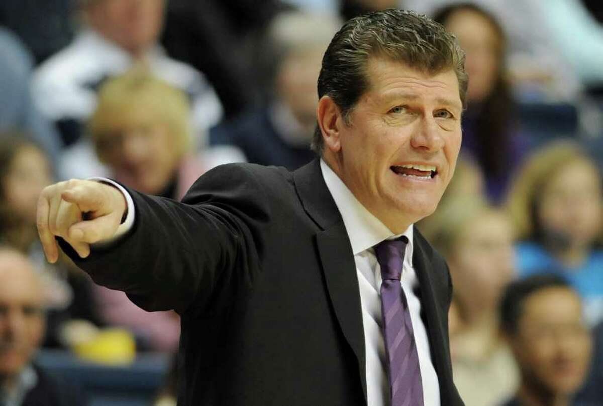 Connecticut head coach Geno Auriemma reacts during the first half of an NCAA college basketball game against DePaul, in Storrs, Conn., Saturday, Feb. 5, 2011. (AP Photo/Jessica Hill)