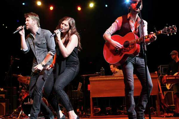 Lady Antebellum's Charles Kelley (from left), Hillary Scott, and Dave Haywood perform Saturday Feb. 5, 2011 during the San Antonio Stock Show & Rodeo at the AT&T Center. (PHOTO BY EDWARD A. ORNELAS/eaornelas@express-news.net)