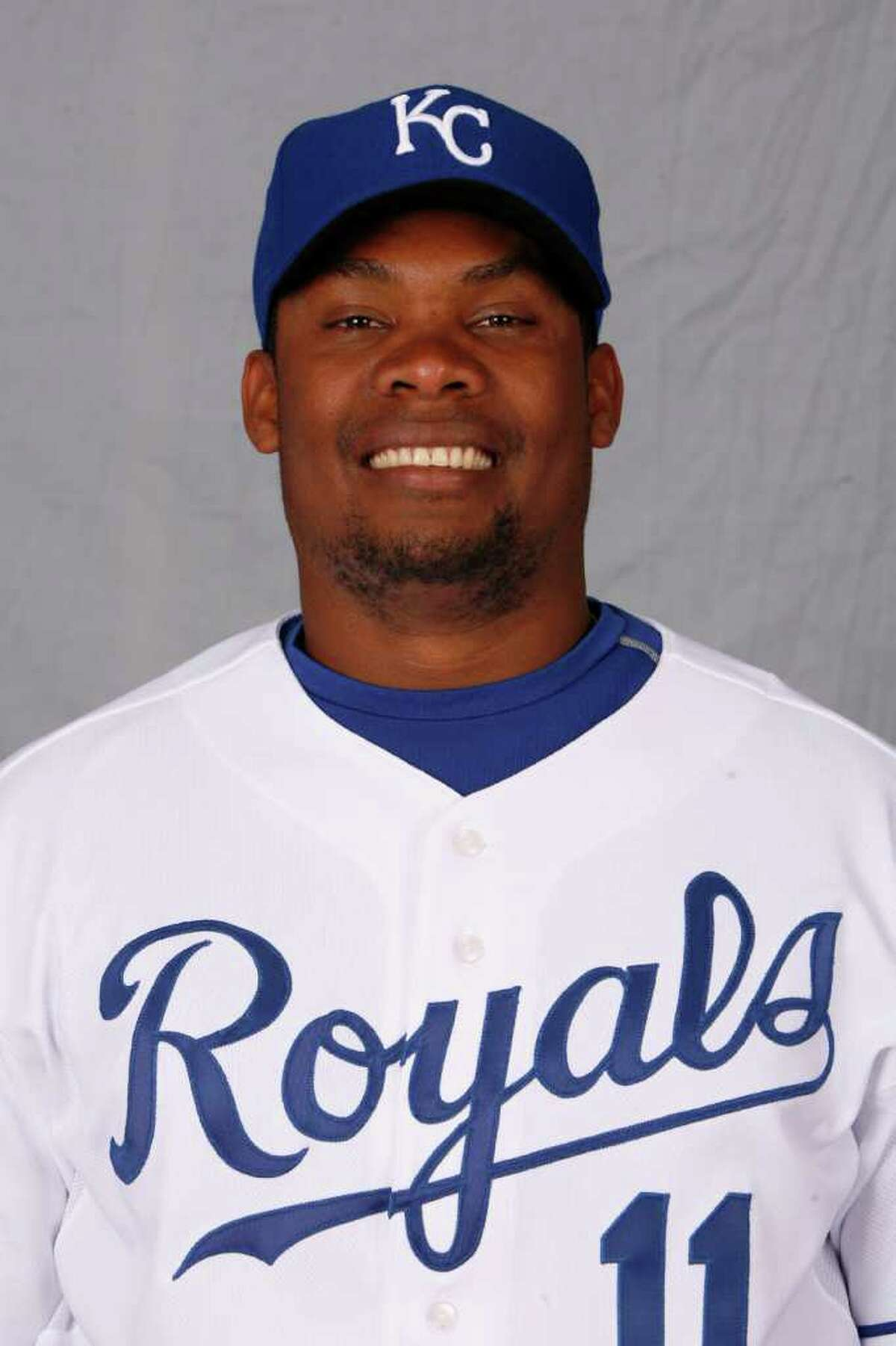 This is a 2008 file photo of Jose Guillen of the Kansas City Royals baseball team. Guillen is among at least four pro baseball players who received performance-enhancing drug presriptions from a Florida dentist who lacked medical credentials and has pleaded guilty to federal drug charges. (AP Photo/Charlie Riedel)