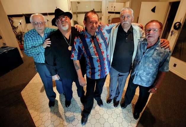 Grammy-winning and conjunto legend Flaco Jimenez's (center) last solo album will feature collaborations with some of Jimenez's closest friends, including Henry Zimmerle (from right), Fred Ojeda, Nick Villareal and Toby Torres. Photo: KIN MAN HUI / San Antonio Express-News