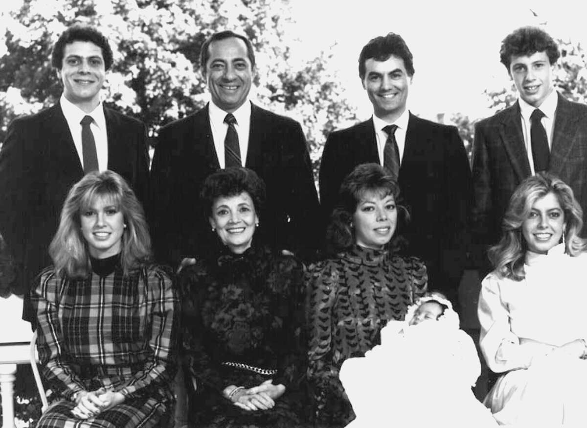 From 1986: The first family of New York state, back row, son Andrew, Gov. Mario, son-in-law Robert Perpignano, Christopher; front, Maria, wife Matilda, Margaret and daughter Christina and Madeline Cuomo.