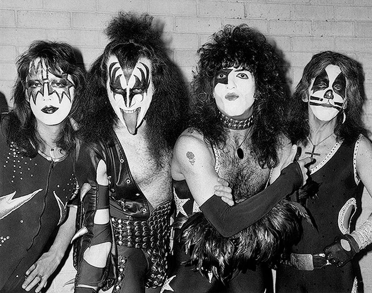 10th May 1976: American rock group Kiss arrive at London airport for their first European tour, already sporting black and silver makeup and costumes. From left to right they are guitarist Ace Frehley, lead singer Gene Simmons, guitarist Paul Stanley and drummer Peter Criss.