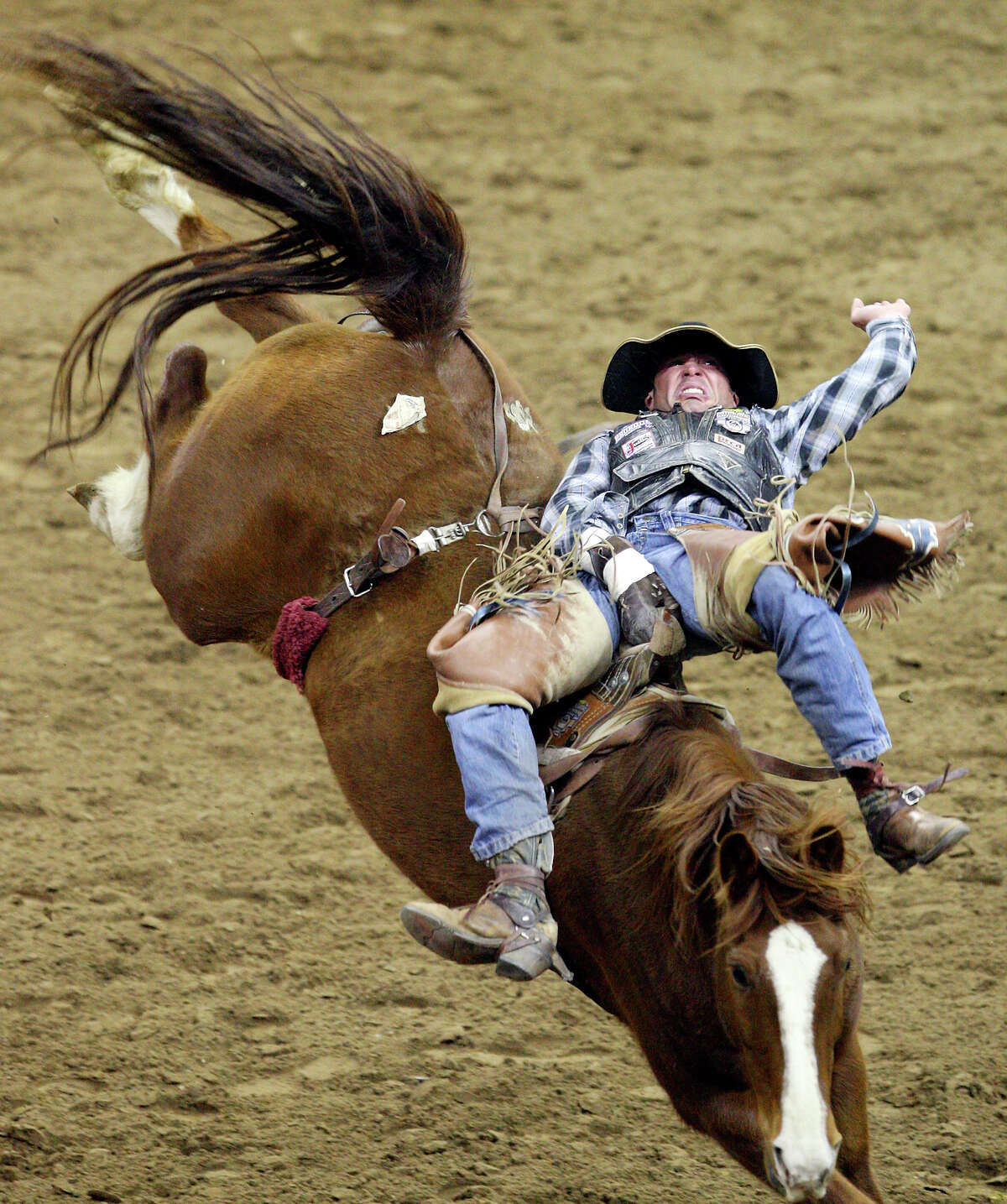 George Gillespie IV , from Elgin , OR , competes in the Bareback Riding event Monday Feb. 7, 2011 during the San Antonio Stock Show & Rodeo at the AT&T Center. Gillespie scored a 77 on the ride.