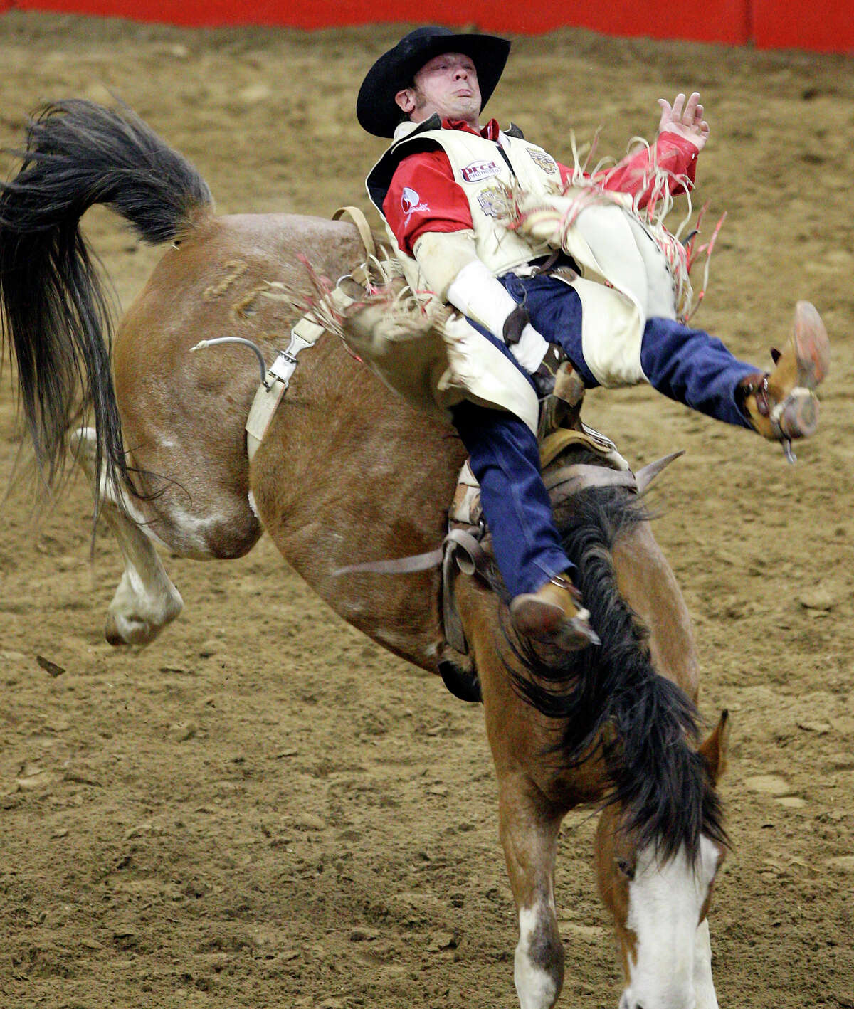 Chris Harris, from Itasca , TX , competes in the Bareback Riding event Monday Feb. 7, 2011 during the San Antonio Stock Show & Rodeo at the AT&T Center. Harris scored a 74 on the ride.