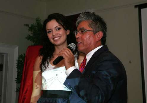 Domonique Ramirez (Miss San Antonio) and Michael Quintanilla (Host, Speaker) were at the Equal Rights Fashionistas event at the SA Woman's Club. Leland A. Outz / Special to the Express-News Photo: LELAND A. OUTZ, SPECIAL TO THE EXPRESS-NEWS / SAN ANTONIO EXPRESS-NEWS