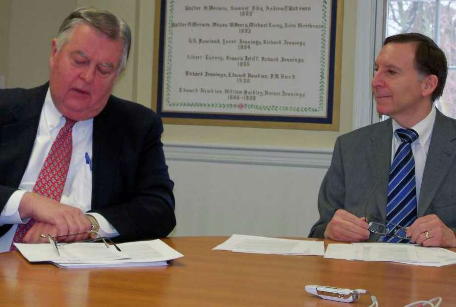 Fiscal Officer Paul Hiller and First Selectman Kenneth Flatto unveiled the budget proposal for fiscal year 2011-12 at a press conference Tuesday. Photo: Genevieve Reilly / Fairfield Citizen