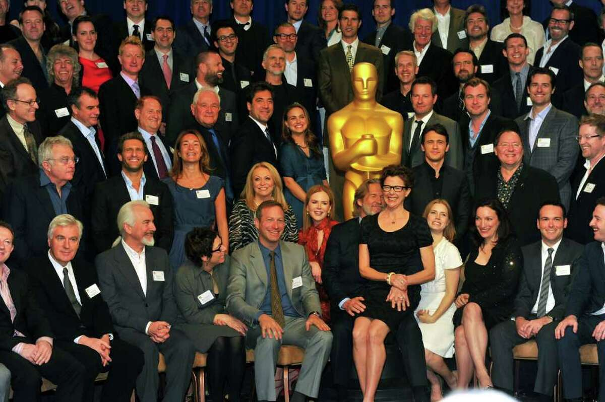 BEVERLY HILLS, CA - FEBRUARY 07: 83rd Academy Awards class photo at the 83rd Academy Awards nominations luncheon held at the Beverly Hilton Hotel on February 7, 2011 in Beverly Hills, California. (Photo by Alberto E. Rodriguez/Getty Images) *** Local Caption *** Javier Bardem;Natalie Portman;Nicole Kidman;Jeff Bridges;Annette Bening;James Franco;Amy Adams;Christopher Nolan