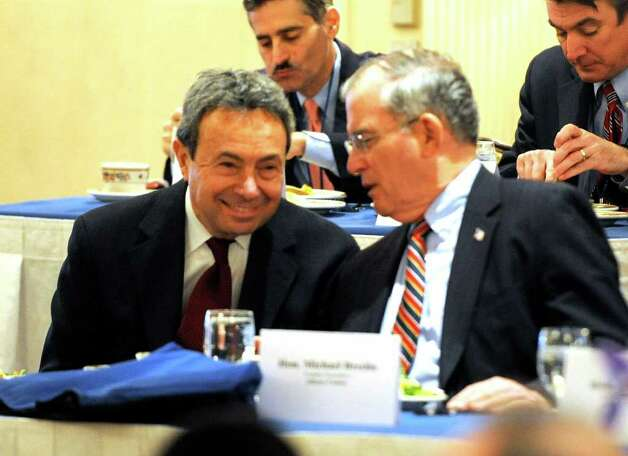 Assembly Majority Leader Ron Canestrari, left, talks with Albany County Executive Mike Breslin at the New York State Association of Counties meeting in Colonie February 8, 2011.  County officials are seeking mandate relief, especially from Medicaid, the health insurance program for the poor.  (Skip Dickstein / Times Union) Photo: SKIP DICKSTEIN / 2008