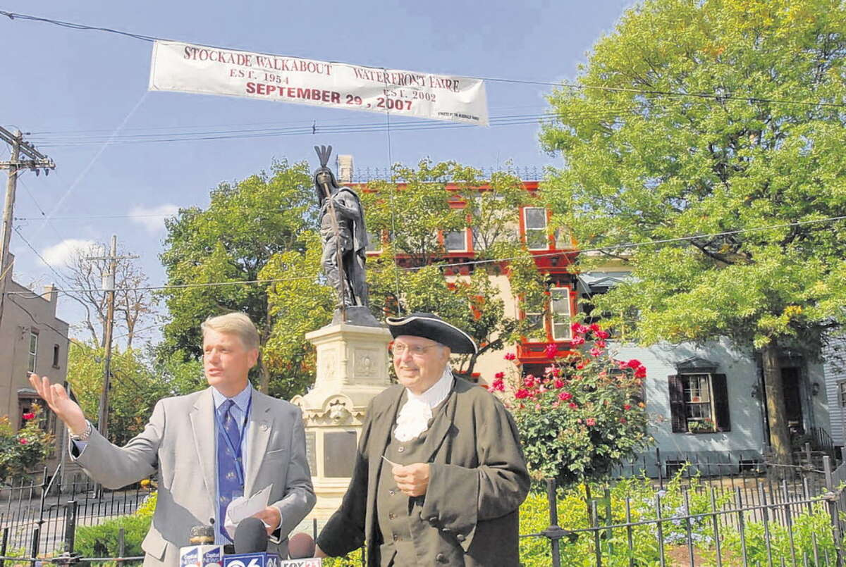 Mayor Brian Stratton announces the tours of the Schenectady's Stockade district in 2007 with Frank Taramino who is dressed as Joseph Yates, Schenectady's first mayor. (Lori Van Buren / Times Union archive)