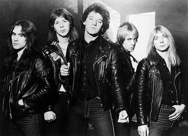 Promotional portrait of British heavy metal group, Iron Maiden, 1981: (From left) Steve Harris, Clive Burr, Paul Di'Anno, Adrian Smith, and Dave Murray. Photo: Hulton Archive, Getty Images / Getty Images 2011
