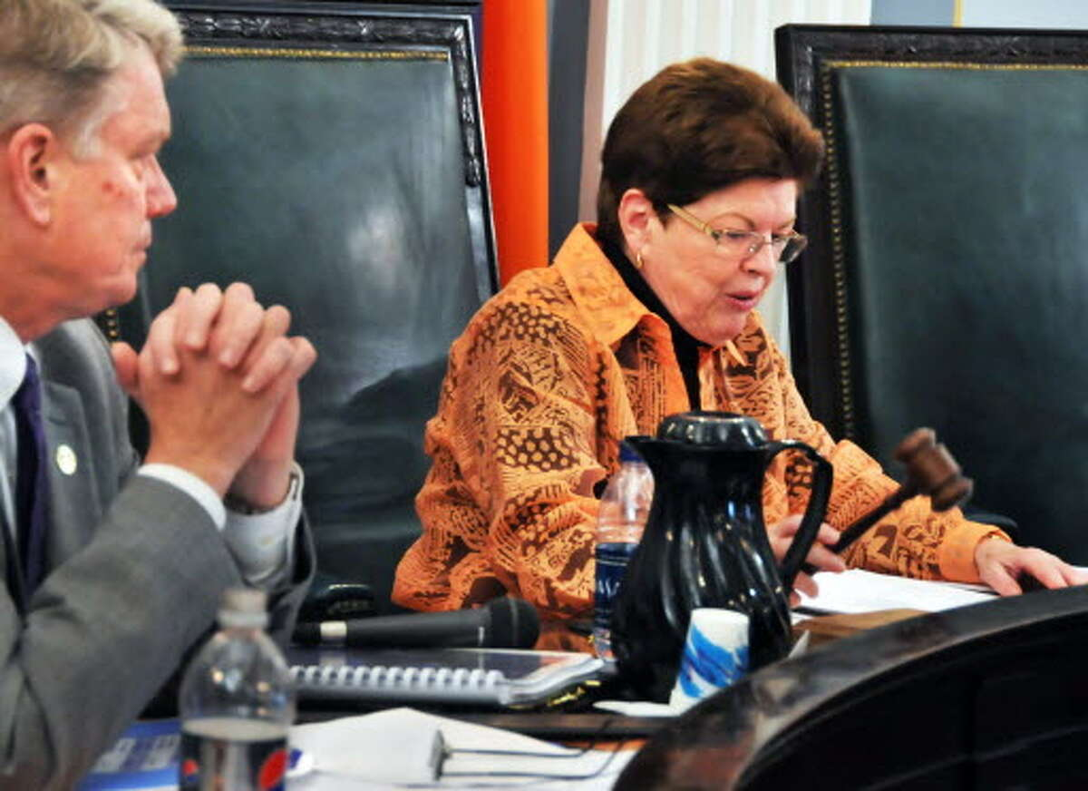 Peggy King, Schenectady City Council president, Mayor Brian Stratton during a council meeting Oct. 30, 2009, in City Hall. (John Carl D'Annibale / Times Union archive)