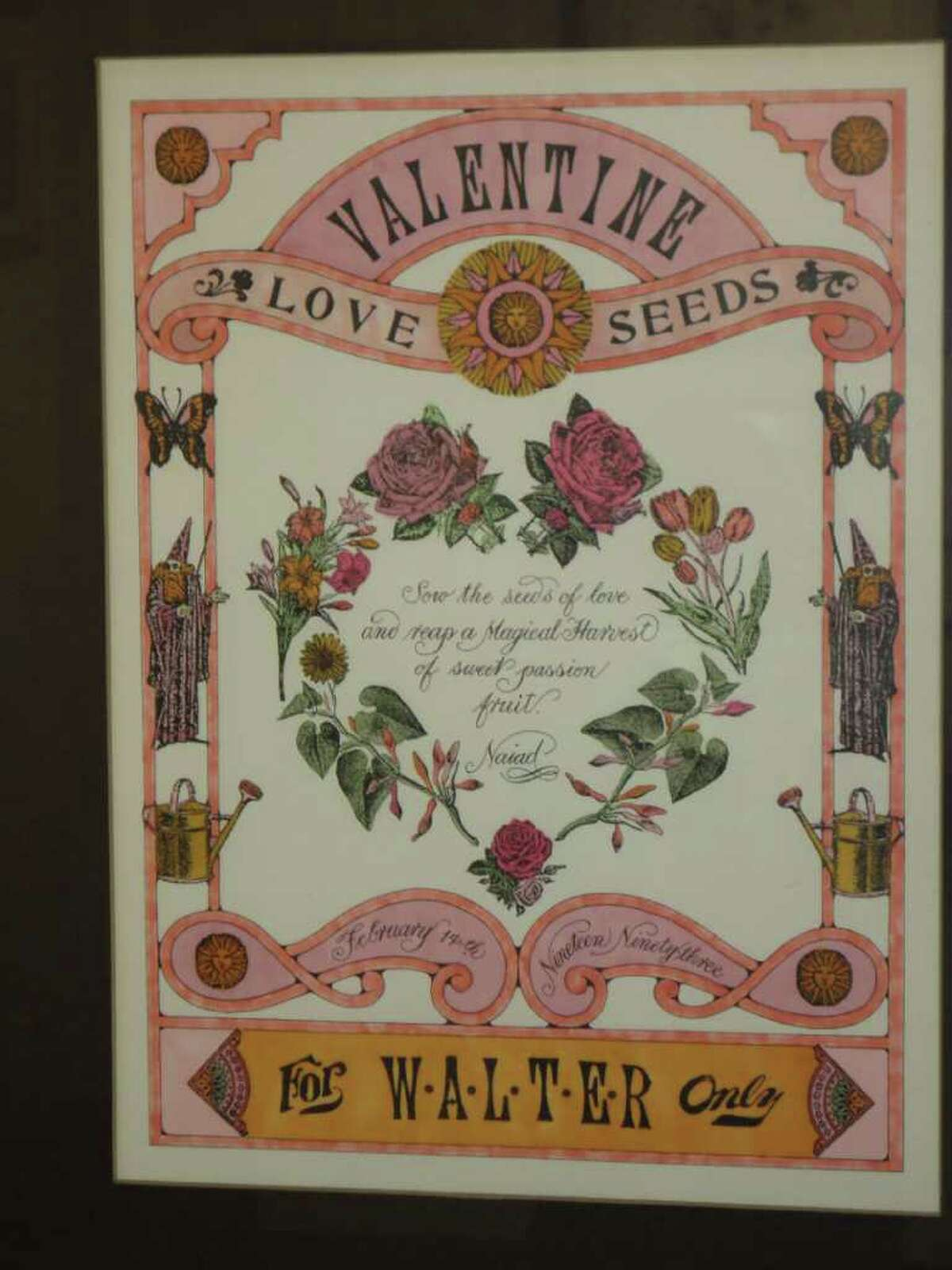 """This Valentine """"heart"""" work by Naiad Einsel is on display at the Westport Historical Society."""