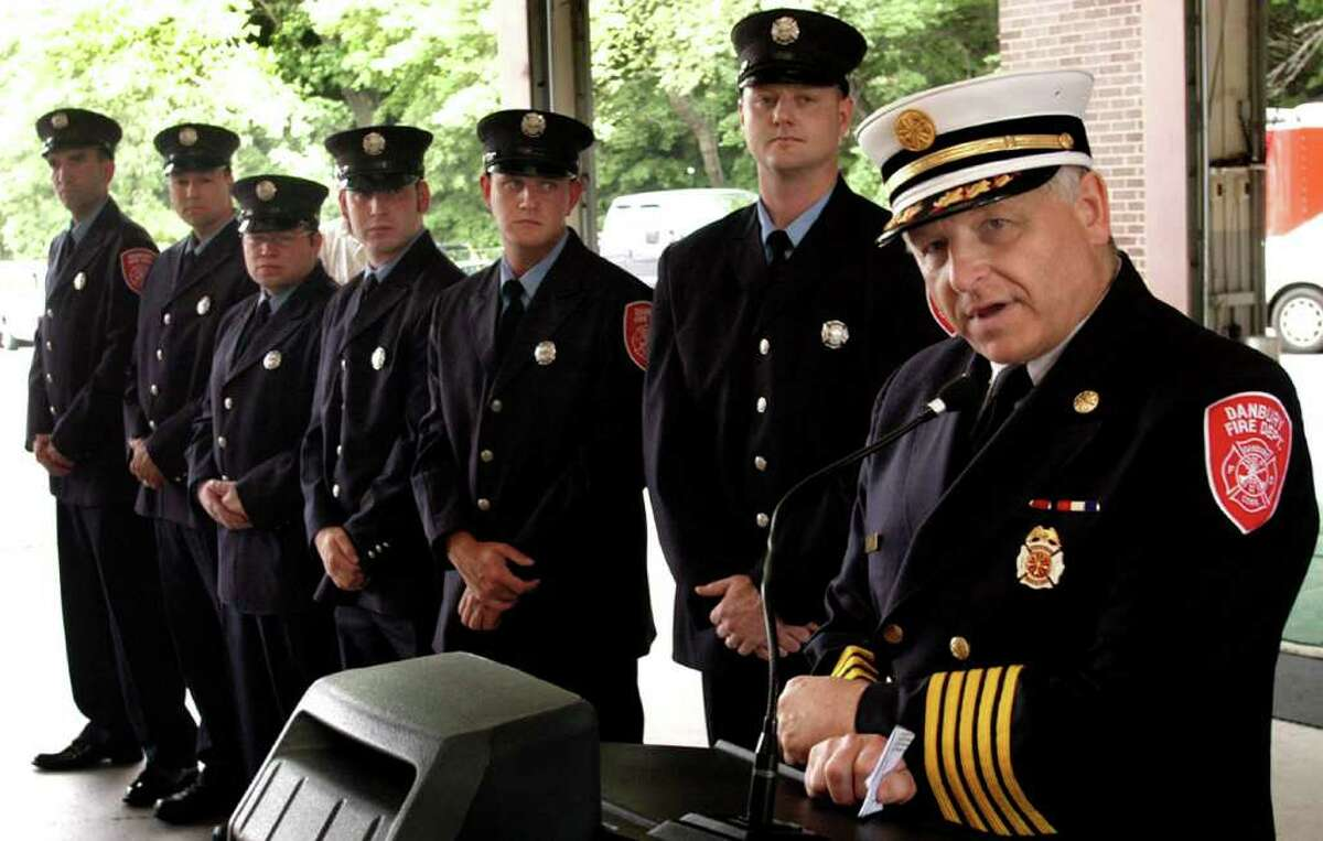 Danbury Fire Chief Geoff Herald speaking at the New Street Fire Headquarters during the induction of new firefighters in this file photo.
