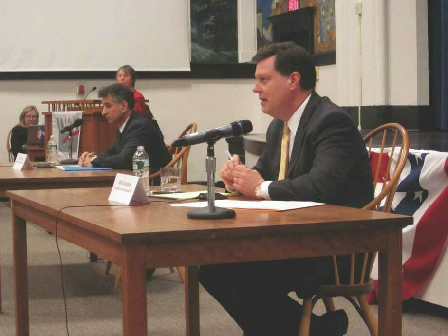 Republican Bob Kolenberg, 27th District Senatorial candidate, debated against challenger Carlo Leone (D -148) Tuesday during the Darien League of Women Voters' debate. Photo: Contributed Photo / Darien News