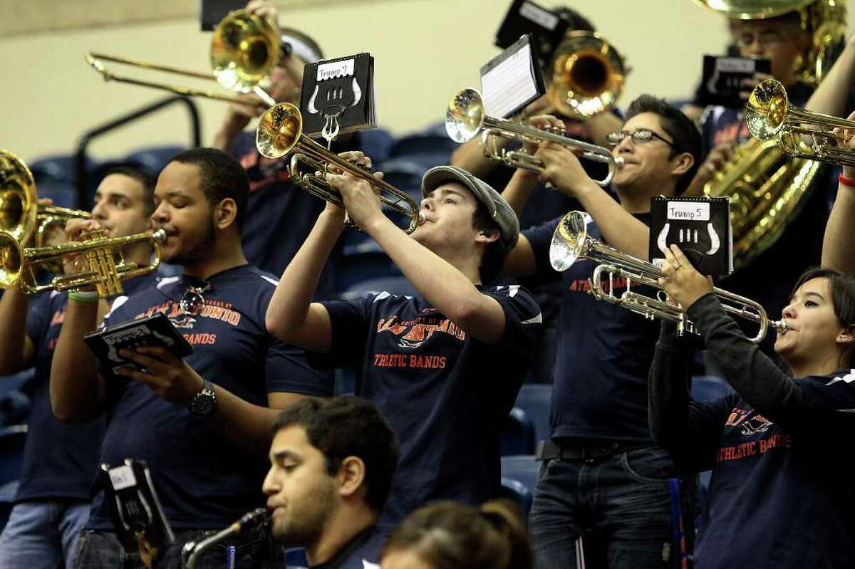 The UTSA Athletic Band plays at the Lady Roadrunners game against Southeastern Louisiana on Wednesday, Feb. 9, 2011. Kin Man Hui/kmhui@express-news.net