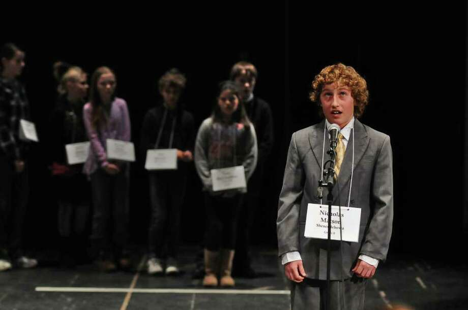 Nicholas Matson, an eighth-grader from Shenendehowa, takes his turnWednesday during the 2011 Capital Region Spelling Bee at Proctors in Schenectady. ( Philip Kamrass / Times Union ) Photo: PHILIP KAMRASS