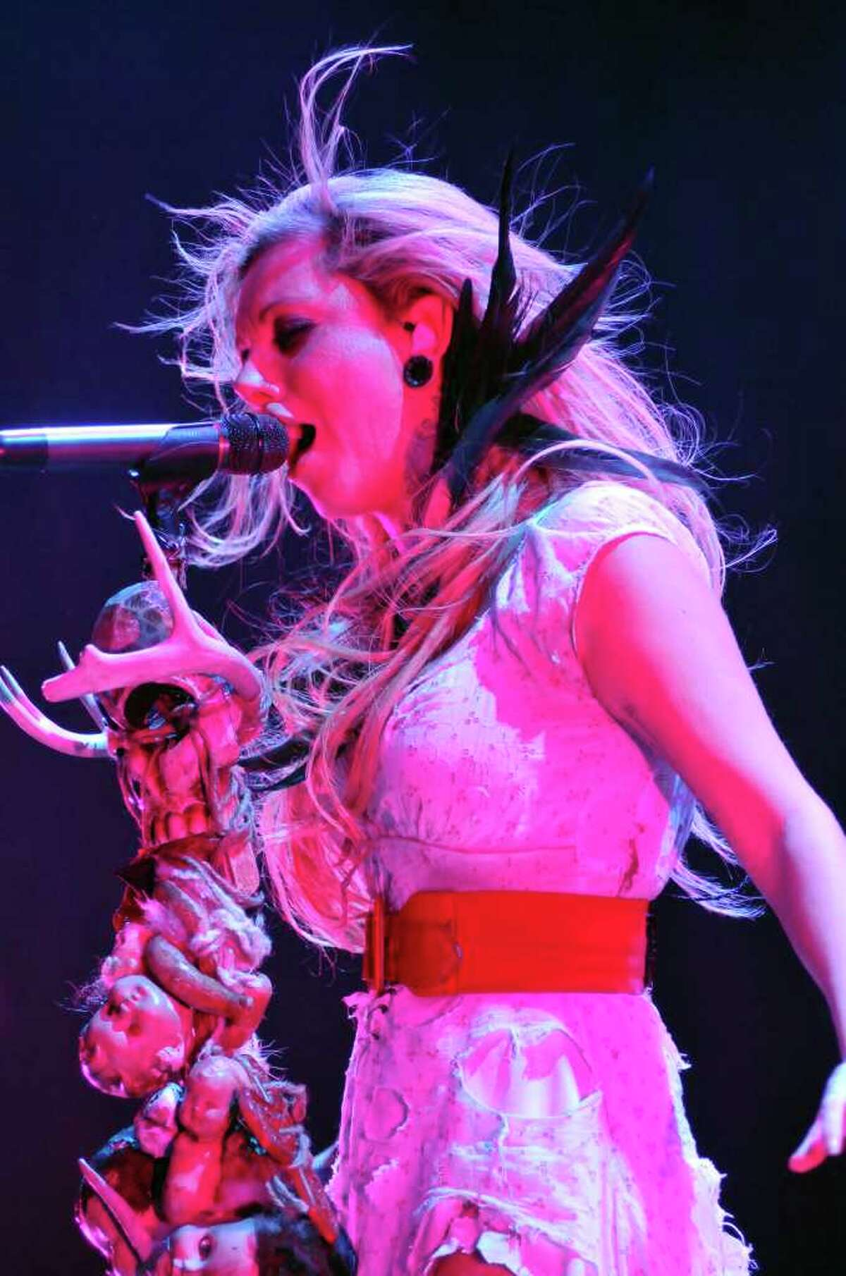 Maria Brink and In This Moment open the inaugural show at the Illusion Theatre configuration of the Alamodome on Wednesday, Feb. 9, 2011. Korn and Sevendust were also on the bill.