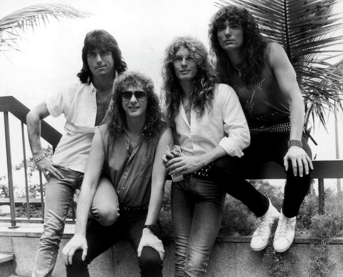 In the former catgeory were heavy metal band Whitesnake, seen here without the fancy car and the flexible woman, in Rio de Janeiro, 24th January 1985. From left, Cozy Powell (1947 - 1998), Neil Murray, John Sykes and David Coverdale.