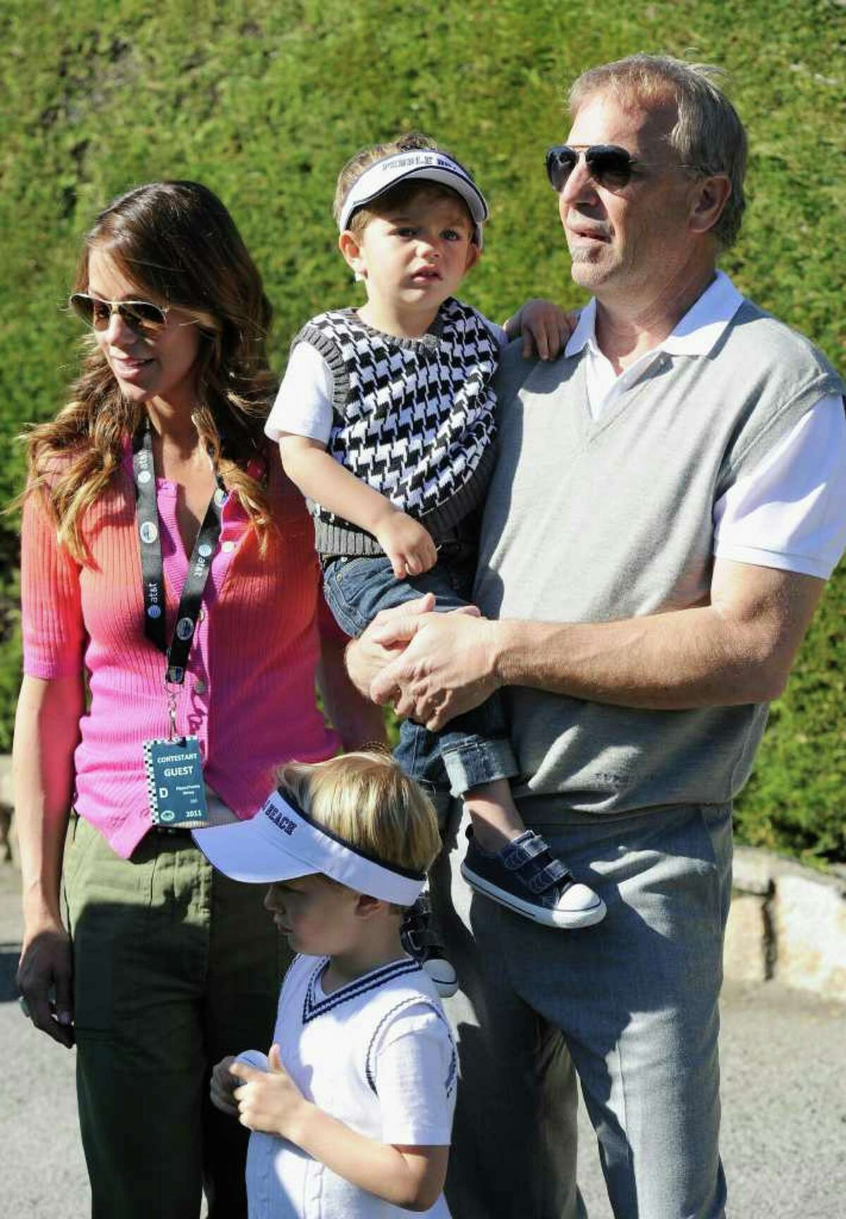 PEBBLE BEACH, CA - FEBRUARY 09: Actor Kevin Costner with family members during the 3M Celebrity Challenge at the AT&T Pebble Beach National Pro-Am at Pebble Beach Golf Links on February 9, 2011 in Pebble Beach, California. (Photo by Stuart Franklin/Getty Images)