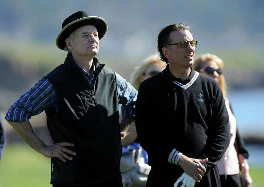 PEBBLE BEACH, CA - FEBRUARY 09:  Actors Bill Murray and Andy Garcia talk together during the 3M Celebrity Challenge at the AT&T Pebble Beach National Pro-Am at Pebble Beach Golf Links on February 9, 2011  in Pebble Beach, California.  (Photo by Stuart Franklin/Getty Images) Photo: Stuart Franklin