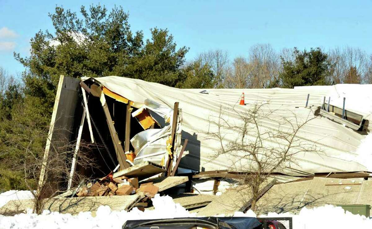Collapsed roofs at the Blue Linx property in Newtown. Photographed on Thursday, Feb. 10, 2011.