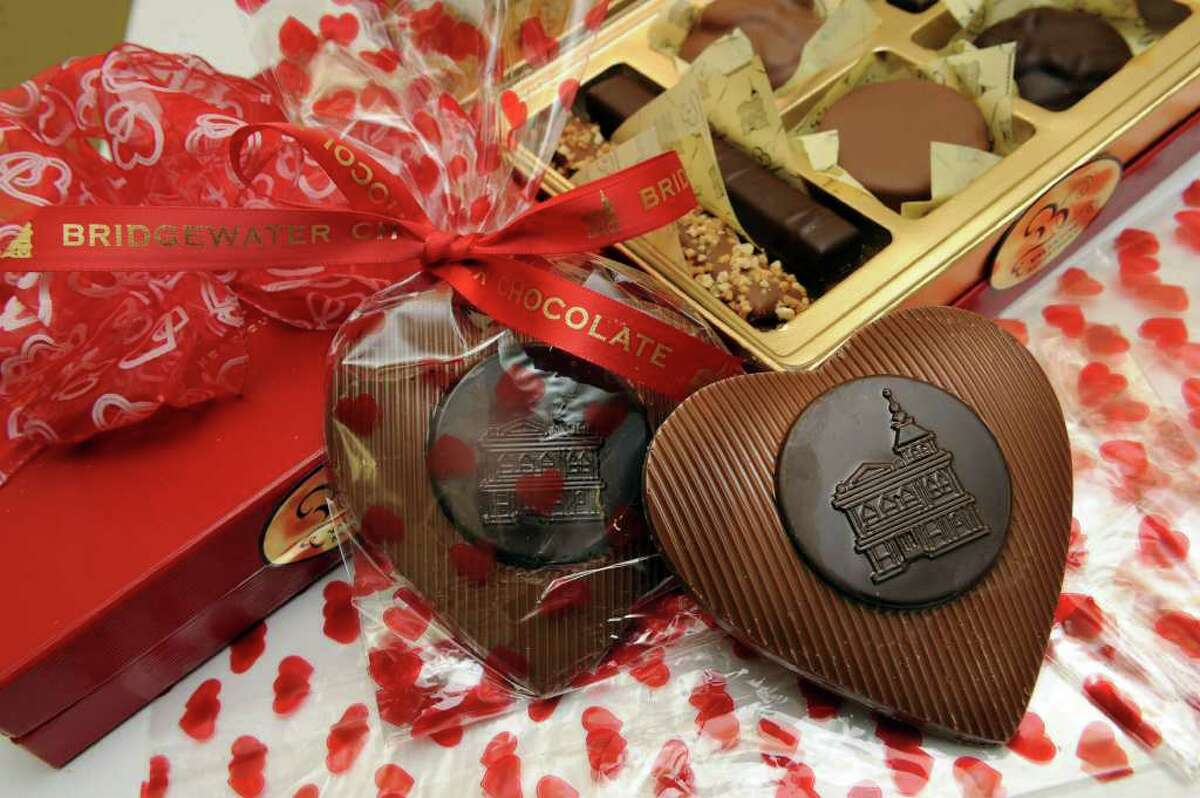 An Valentine's Day assortment of chocolate candies and solid chocolate hearts are among items available at Bridgewater Chocolates for Valentine's Day. Photo taken Thursday, February 10, 2011.