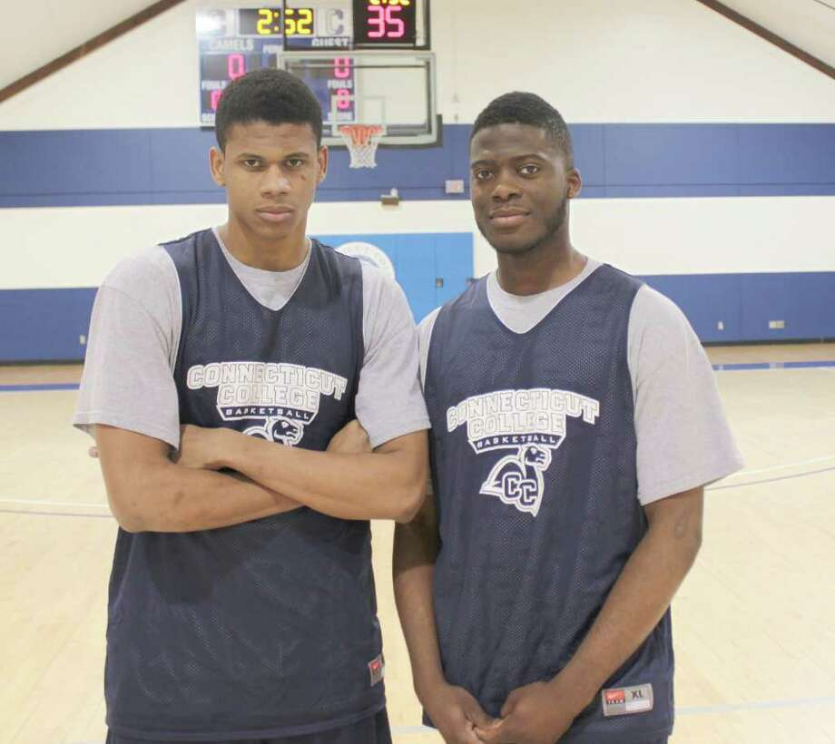 Connecticut College men's basketball players Marcus Guirand, left, and Jethro Anilius. Photo: Contributed Photo/Connecticut College Athletics
