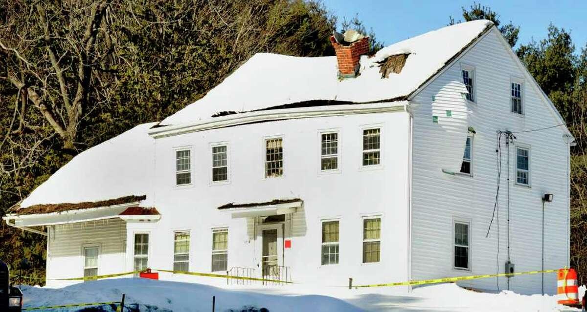 The Beardsley Farmhouse in Newtown, before demolition, Thursday, Feb. 10, 2011.