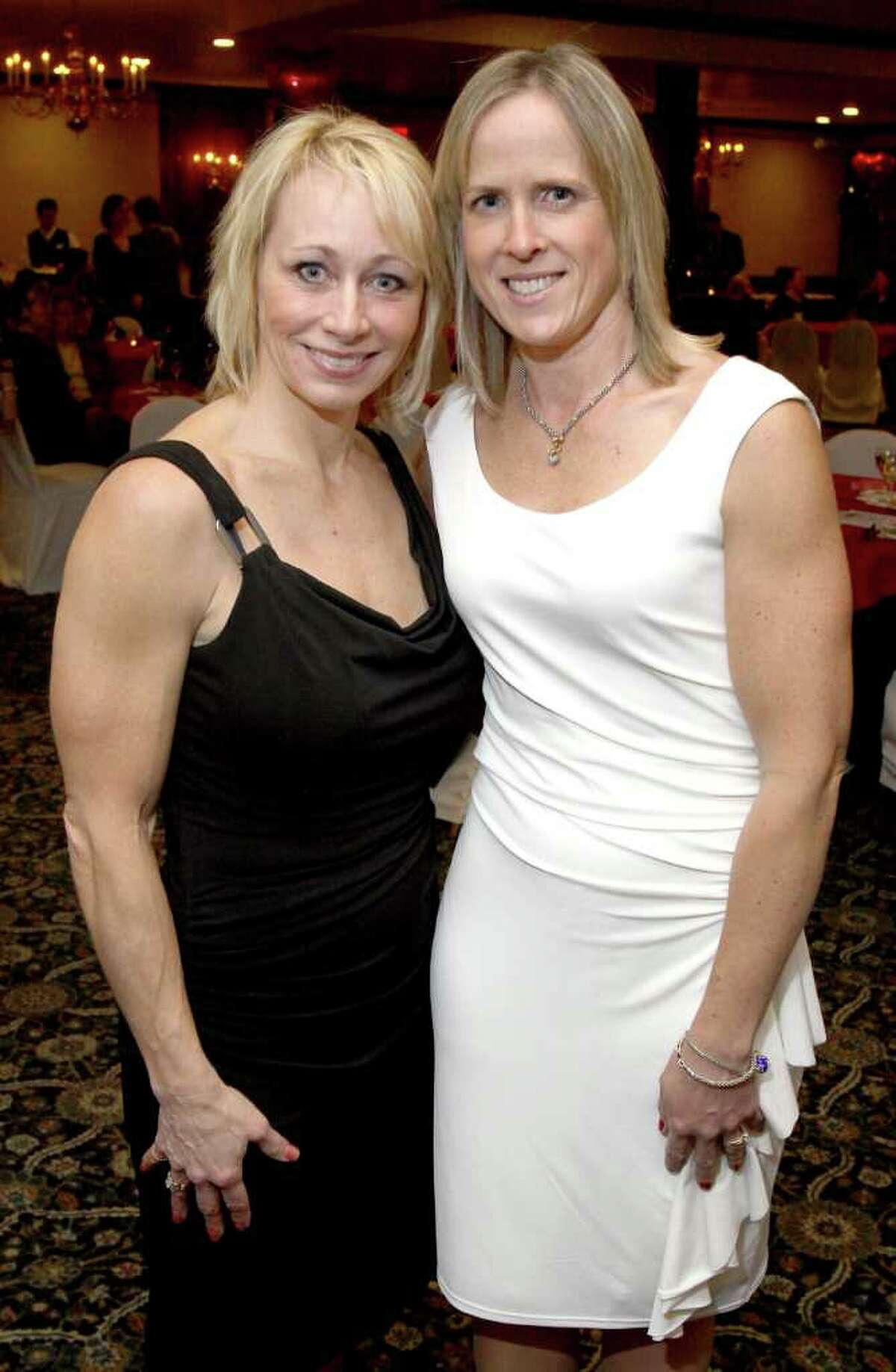 Marcie Fraser, left, YNN health reporter and event emcee, with Krista Comanzo. (Joe Putrock / Special to the Times Union)