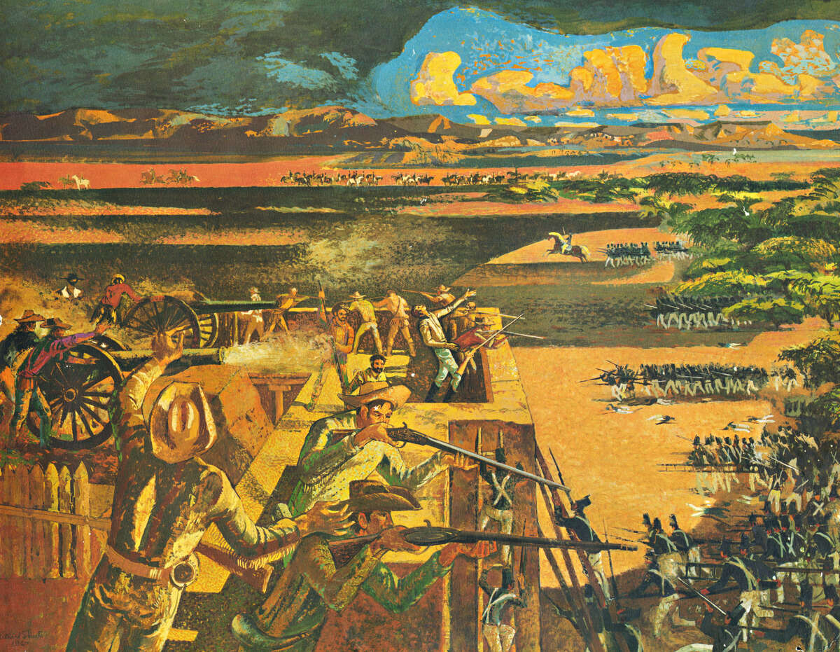 """Prints of the mural """"The Death of Travis"""" were given to customers of Travis Savings and Loan in the late 1960s. The mural of the battle of the Alamo adorns the north end of the bank building's interior."""