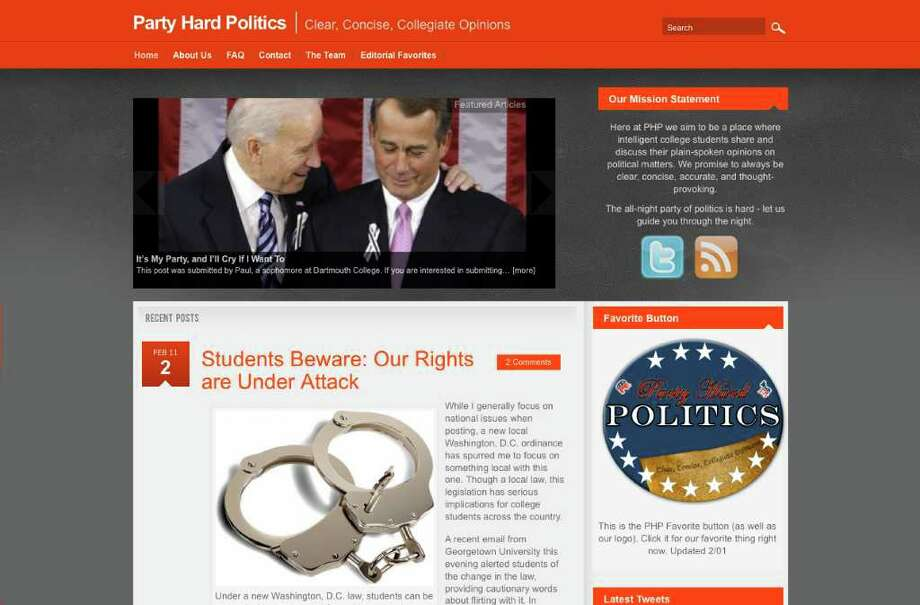 A screengrab of partyhardpolitics.com, a political blog started by David Finkelstein, Laurence Pevsner and Jack Appelbaum, all 2010 Greenwich High School graduates. Photo: Contributed Photo / Greenwich Time Contributed