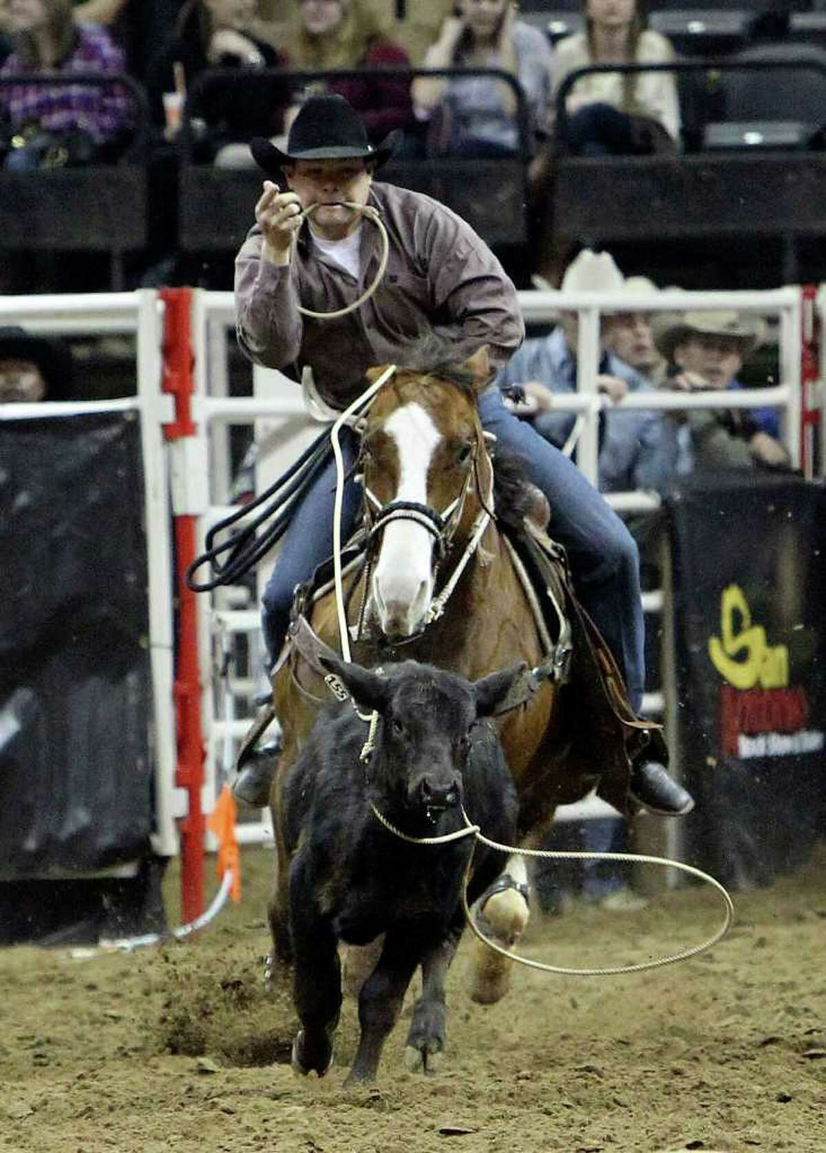 Matt Shiozawa of Chubbuck, ID competes in the tie-down roping competition at the 2011 San Antonio Stock Show & Rodeo at the AT&T Center on Friday, Feb. 11, 2011. Kin Man Hui/kmhui@express-news.net