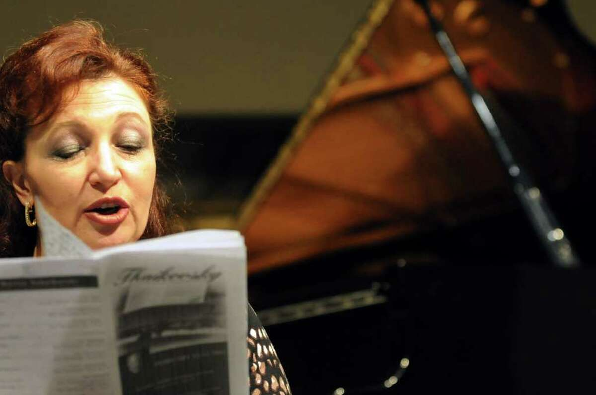 Judge Margarita Khaitov announces the performers during the second annual Tchaikovsky Piano Competition on Saturday at The Linda: WAMC's Performing Arts Studio in Albany. (Cindy Schultz / Times Union
