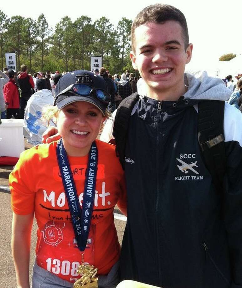Courtney and Hugh Kelleigh at Disney World, where she ran her first marathon in January in honor of her father Hugh, who suffers from Alzheimer's disease and multiple sclerosis. (Family photo)