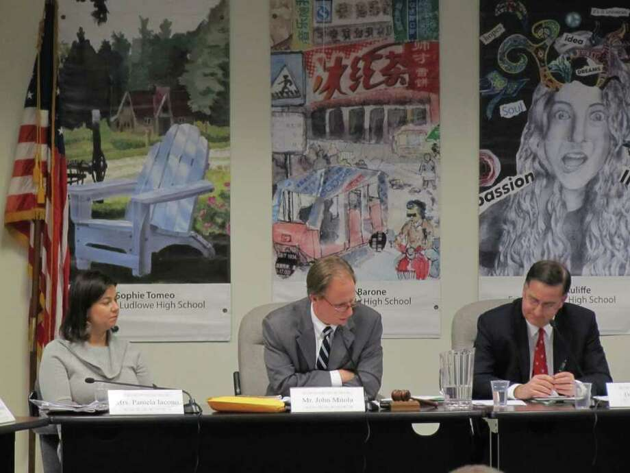 Fairfield Board of Education Vice Chairman Pam Iacono, Chairman John Mitola and Superintendent of Schools David Title discuss the Long Range Facilities Plan Tuesday night. Photo: Kirk Lang / Fairfield Citizen