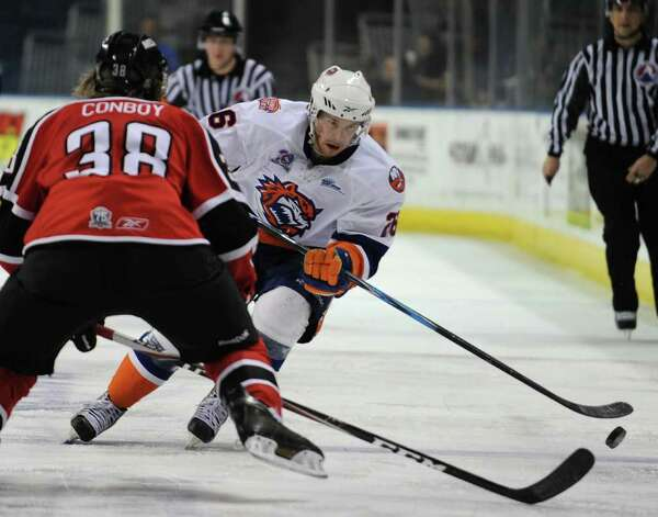 Bridgeport Sound Tigers Rob Hisey versus the Portland Pirates at the Webster Bank Arena in Bridgeport on Sunday, February 13, 2011. Photo: Brian A. Pounds / Connecticut Post