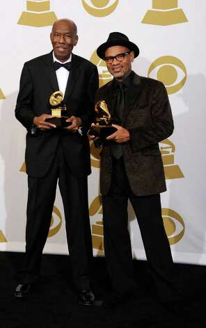 "LOS ANGELES, CA - FEBRUARY 13:  Songwriters Jerry Peters and Kirk Whalum, winners of the Best Gospel Song award for ""It's What I Do"" pose in the press room at The 53rd Annual GRAMMY Awards held at Staples Center on February 13, 2011 in Los Angeles, California.  (Photo by Kevork Djansezian/Getty Images) *** Local Caption *** Jerry Peters;Kirk Whalum Photo: Kevork Djansezian, Getty Images / 2011 Getty Images"