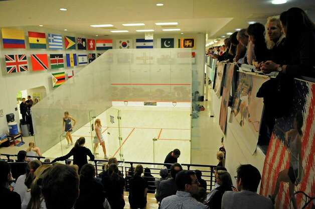 Greenwich Academy competes against Deerfield Academy in the finals of the U.S. high school team squash championship at Yale's Payne Whitney Gym in New Haven, CT on Sunday, February 13, 2011. Photo: Shelley Cryan / Shelley Cryan freelance; Greenwich Time freelance