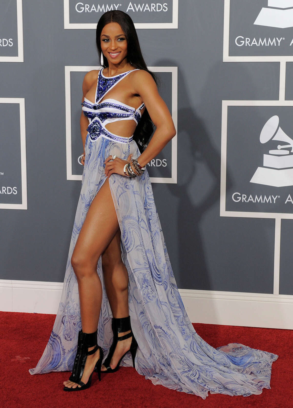 Blue hues: Ciara's Emilio Pucci gown was a puzzle of a dress with multiple body baring cutouts and slits. WORDS BY MICHAEL QUINTANILLA / EXPRESS-NEWS; PHOTO BY ASSOCIATED PRESS