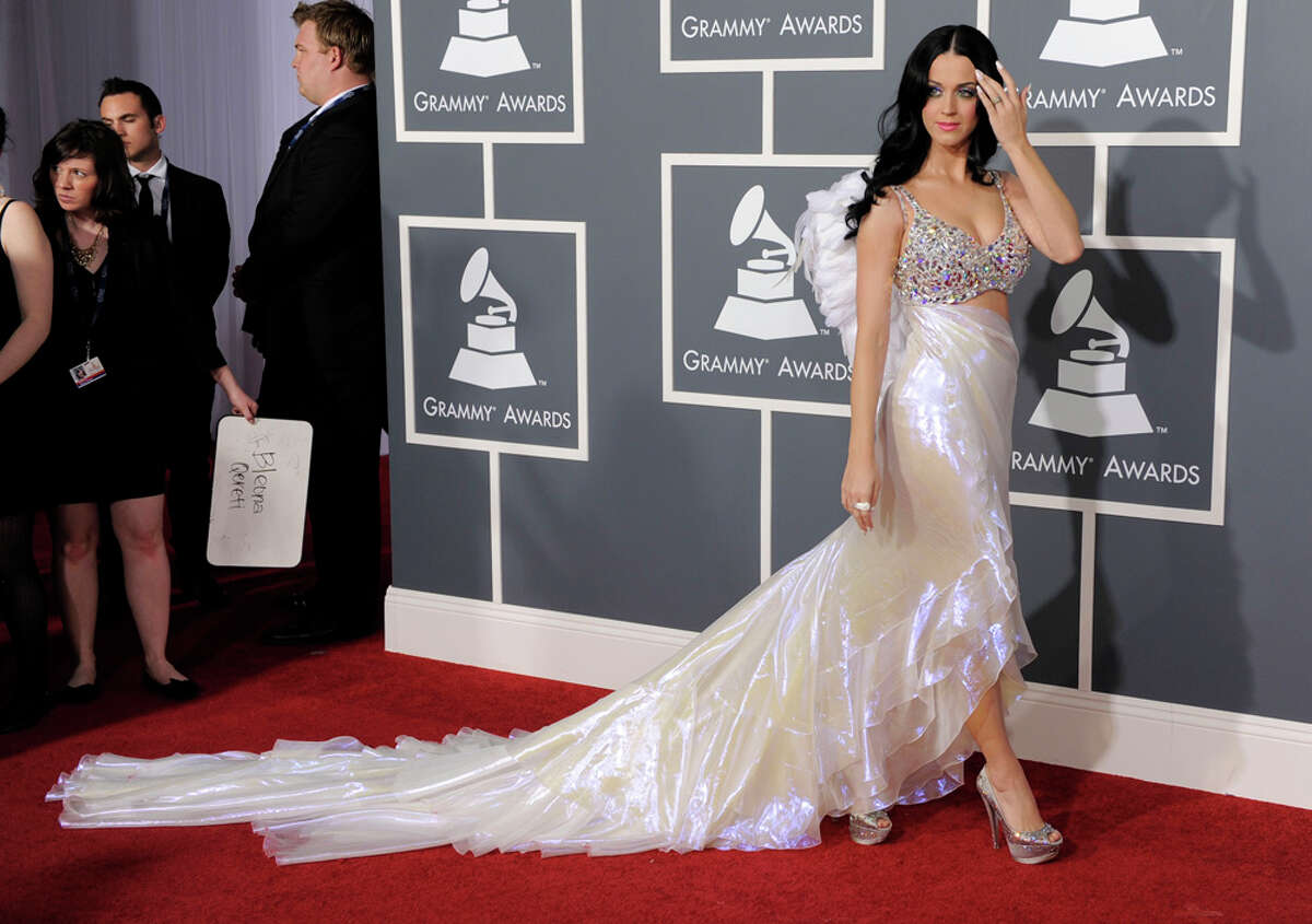 No fireworks here: Katy Perry took to white in a Giorgio Armani gown featuring a Swarovski crystal-encrusted bustier and an iridescent silk organza ruffled skirt with an open front and cascading train. The look was completed with white feather angel wings. Sure, it sounds terrific but in reality it looked like the skirt was made from a painter's plastic sheet. And those wings? They're okay if you're a trick or treating five-year-old. WORDS BY MICHAEL QUINTANILLA / EXPRESS-NEWS; PHOTO BY ASSOCIATED PRESS