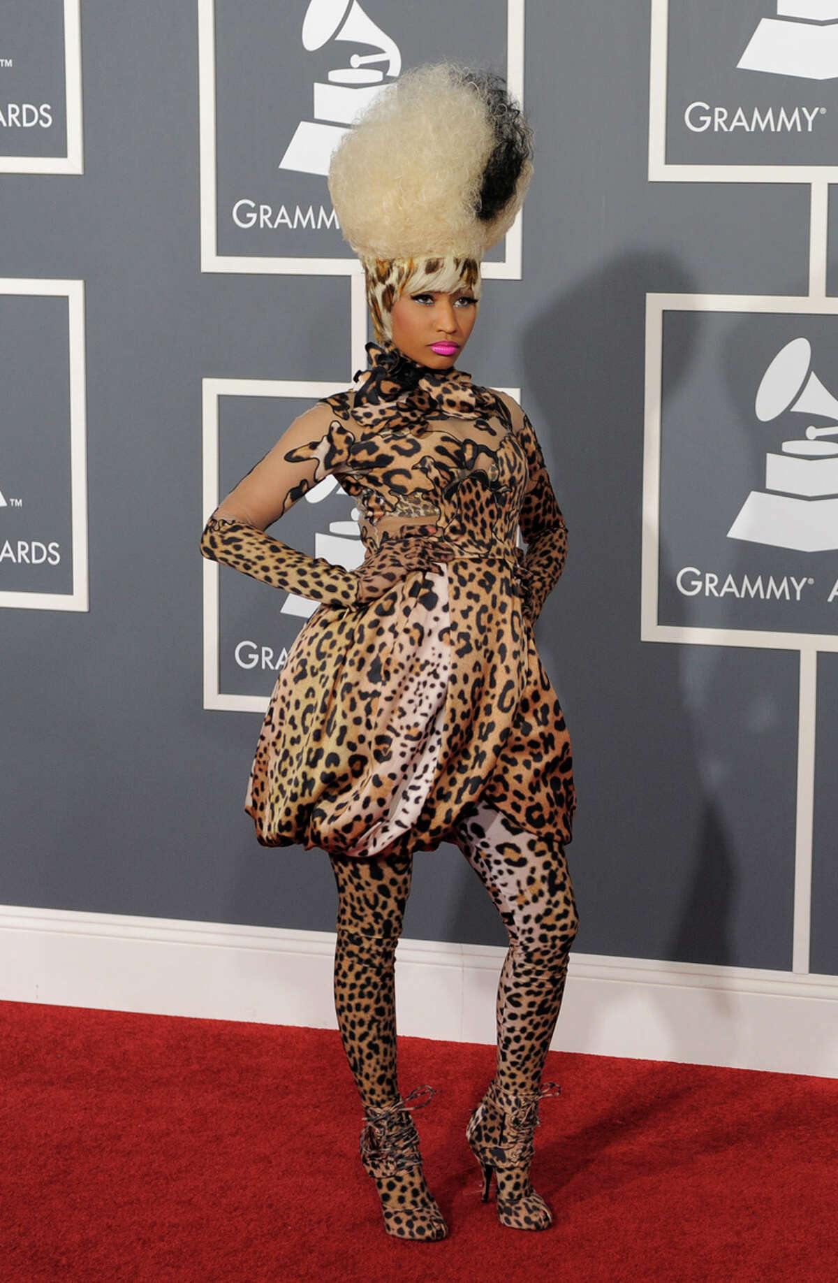 Bride of Frankenstein: Where do begin? At the top, of course, with Nicki Minaj's bride of Frankenstein-like wig with worked in leopard spot bangs. The spots-all in leopard by Givenchy-is proof positive of how not to wear a trend from head to toe. WORDS BY MICHAEL QUINTANILLA / EXPRESS-NEWS; PHOTO BY ASSOCIATED PRESS