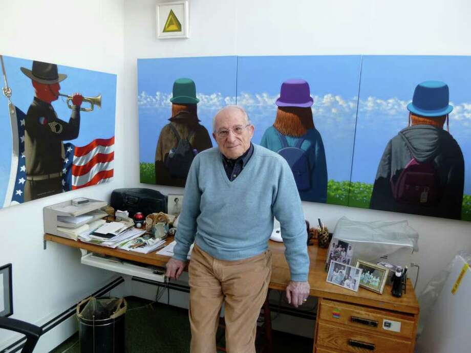 Longtime Westport resident Leonard Fisher is a Pulitzer Prize-winning painter and World War II mapmaker. Photo: Mike Lauterborn, Contributed Photo / Westport News contributed