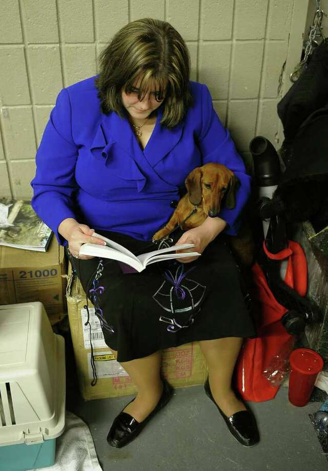 Jessica Anderson reads with her dacshund during the 135th Westminster Kennel Club Dog Show at Madison Square Garden in New York, February 14, 2011. AFP  PHOTO / TIMOTHY A. CLARY (Photo credit should read TIMOTHY A. CLARY/AFP/Getty Images) Photo: TIMOTHY A. CLARY